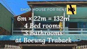 Shop house for rent boeung trabaek